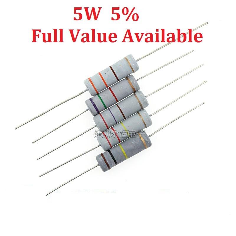 10PCS/LOT 5W 0.1R/0.5R/1R/2.2R/3.3R 0.22R Oxide Film Resistor 0.5 Ohm 5W 5% Carbon Film Resistance Large Power Resistors 5W0.5R