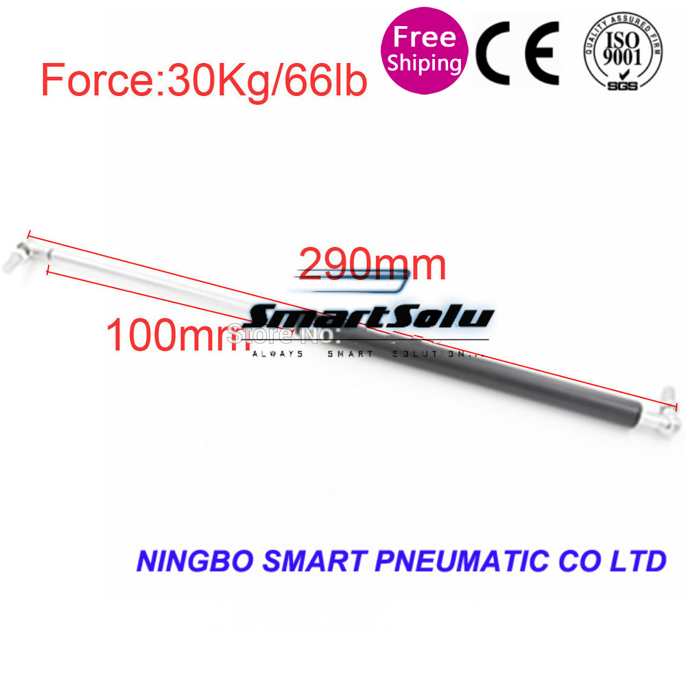 free shipping 30KG/66lb Force Auto Gas Spring 100mm Stroke Ball Joint Lift Strut 290mm Central Distance Automotive Gas Spring M8 free shipping car auto 50kg 110 lbs force ball studs lift strut metal gas spring 500mm 200mm