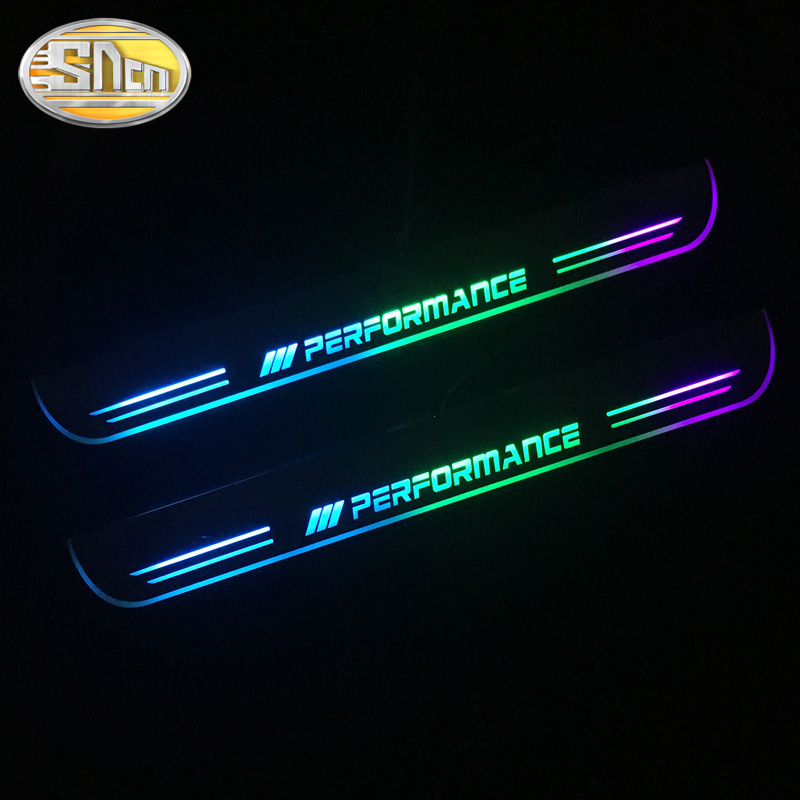 SNCN Colorful Acrylic Moving LED Welcome Pedal Car Scuff Plate Pedal Door Sill Pathway Light For