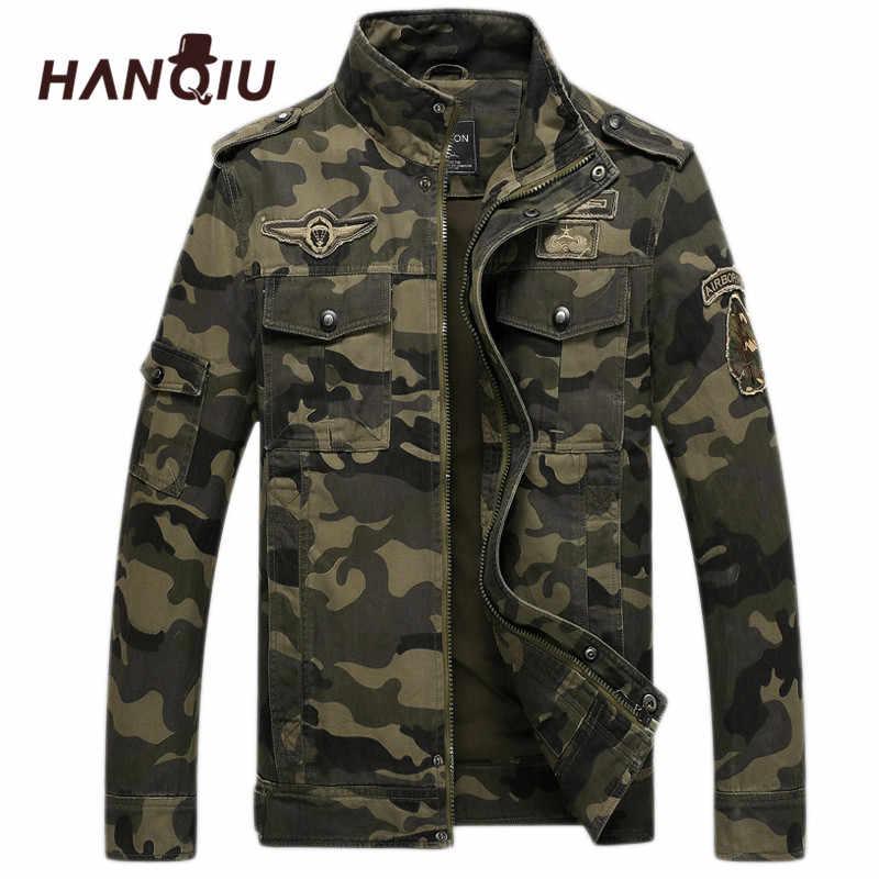 HANQIU Merk Camo Bomber Jas Mannen 2019 Herfst Camouflage Jas Militaire Windbreake Camo Mannelijke Jas Jaqueta Masculino