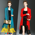 Women Trench Coat Long sleeve Tassels Clothing Plus Size 2016 Autumn Fashion  Miyake Pleats Super Elastic Cardigan Coats