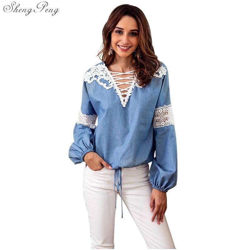 Women Blouse Vintage Denim Blue Shirts 2018 Autumn Casual V Neck Long Sleeve Shirt Baggy Blusa Top Work Office Vestidos V1081 Carefully Selected Materials Blouses & Shirts