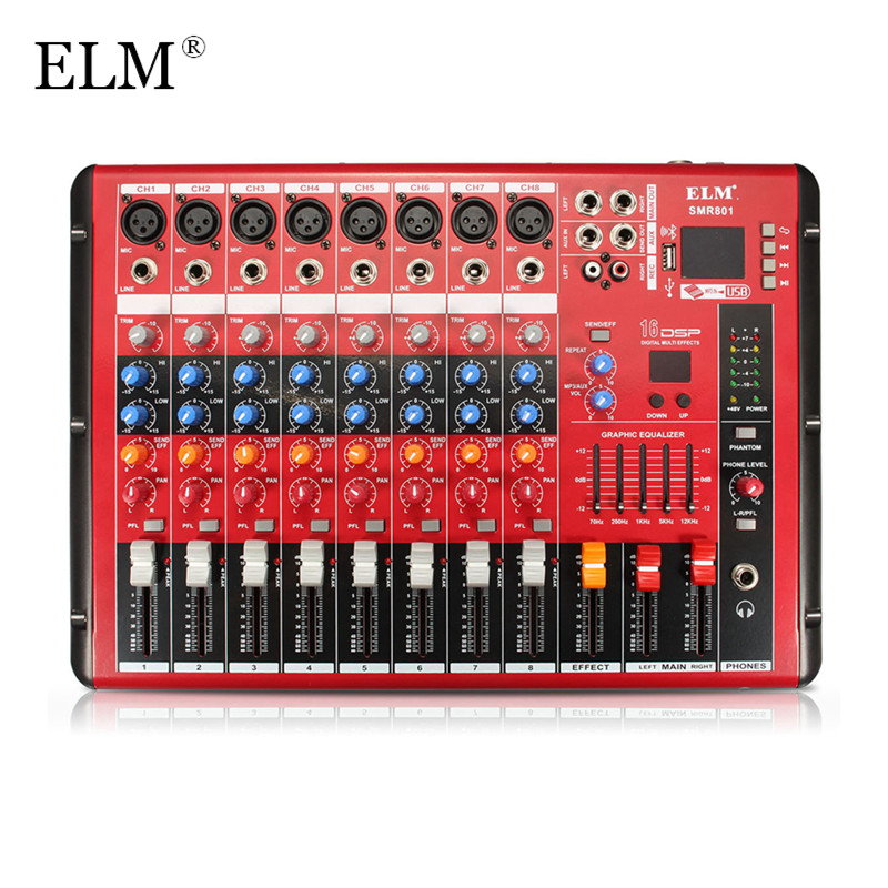 ELM Professional Karaoke Audio Sound Mixing Mixer Amplifier Microphone Console Bluetooth 8 Channel With USB 48V Phantom Power audio mixer cms1600 3 cms compact mixing system professional live mixer with concert sound performance digital 24 48 bit effects