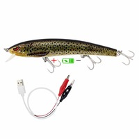 Twitching Lures Rechargeable LED Intelligent Lure USB Recharging Cords Precious Minnow Fishing Lure Jerkbait With Mustad