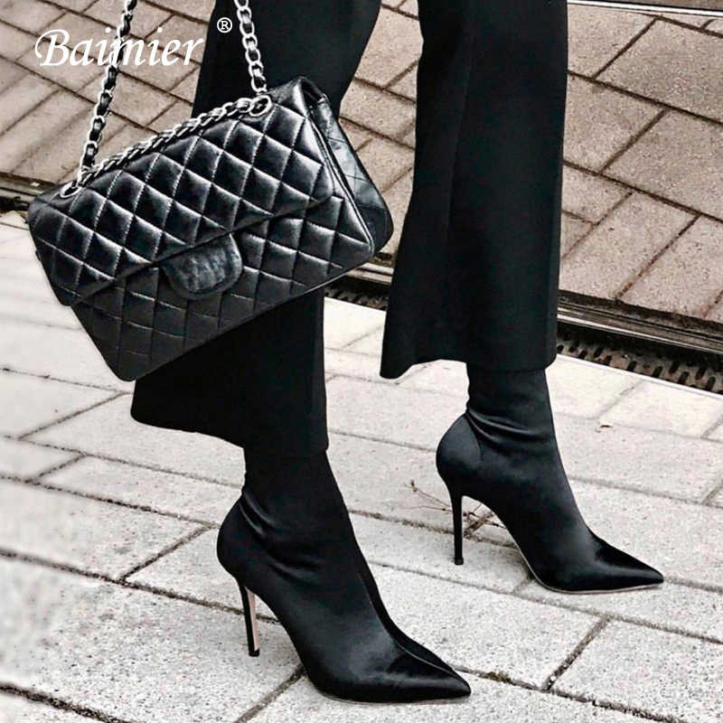 Baimier Stretch Fabric Black Women Sock Boots Pointed Toe Ankle Boots For  Women 2018 Fashion Brand 8f3d0998cb39