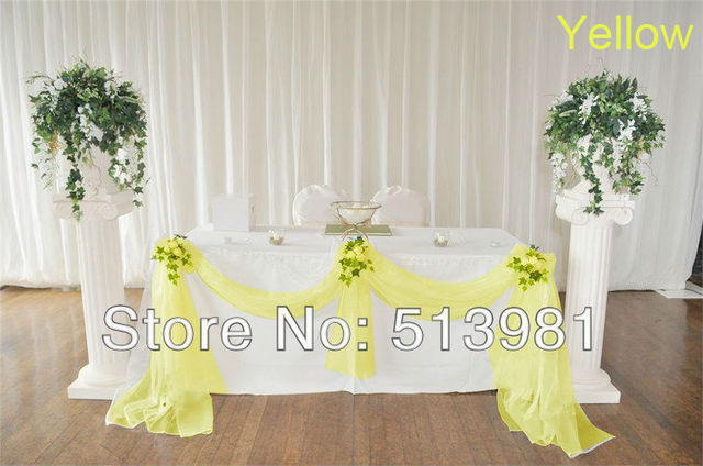 High Quality Whole 1 5m X Width Yellow Color Organza Fabric Wedding Decoration Top