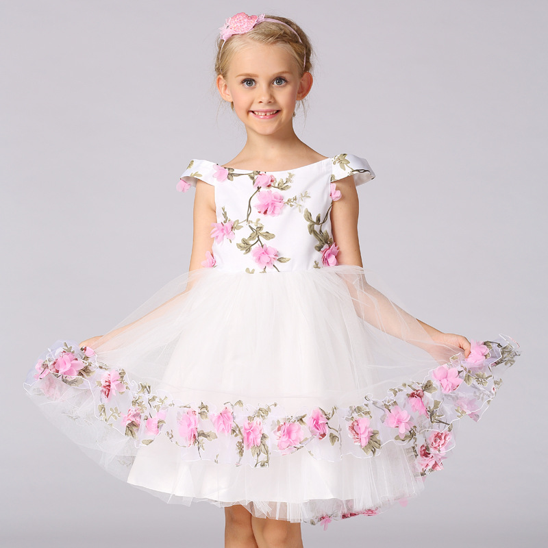 Girls Tulle Tutu Princess Dress Flowers Wedding Party Birthday Vestidos Cosplay Costume Girl Prom Dress For 4 6 8 10 12 Years purple girl flowers long section tutu dress 5y birthday princess dress girl dress 6 y holiday evening dress