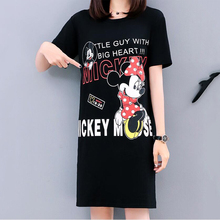 Minnie Mickey Mouse 2019 New Women Dress Fashion Print Loose Short Sleeve Harajuku Plus Size Casual Summer S-5XL