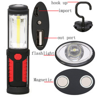 COB Torch Charging Linterns LED Rechargable USB Flashlight Work Light Magnetic HOOK With Mobile Power Function