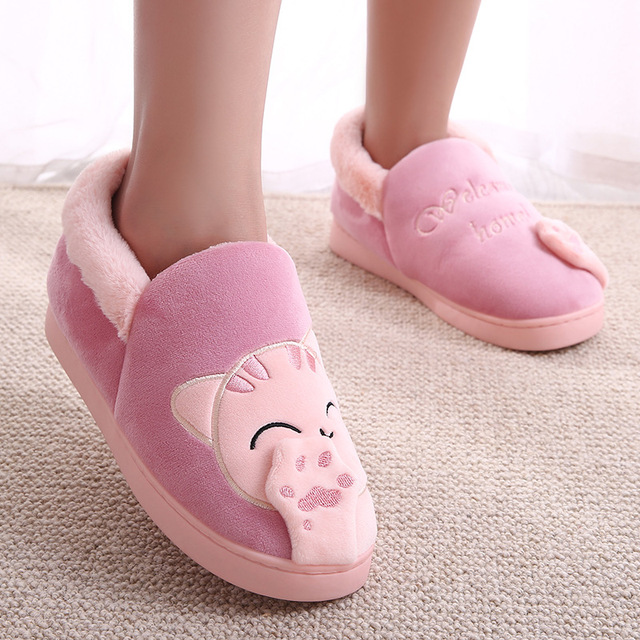 Women Home Slippers Lovers Warm Cartoon Cat Winter Warm Shoes