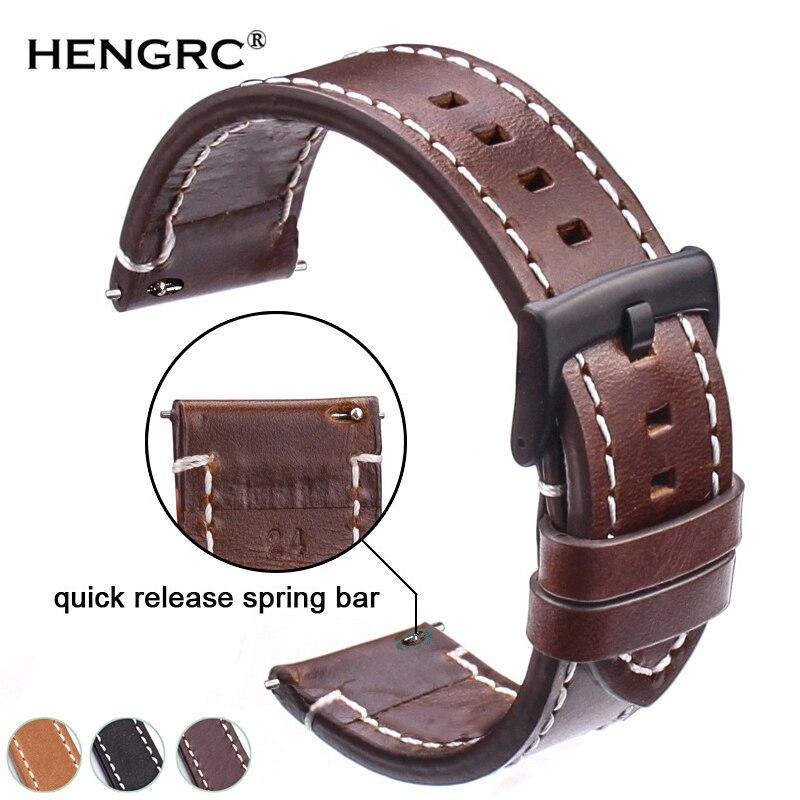 Bracelets de montre en cuir véritable 18mm 20mm 22mm 24mm noir marron foncé femmes hommes bracelet de montre en peau de vache ceinture avec boucle