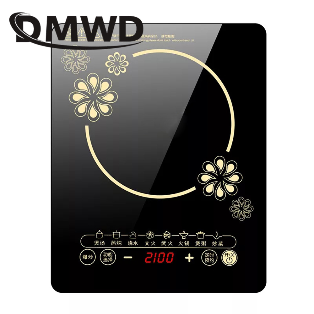 DMWD electric magnetic Induction cooker 220V 2100W cooking hot pot waterproof panel small hot pot stove hotpot oven cooktop EU