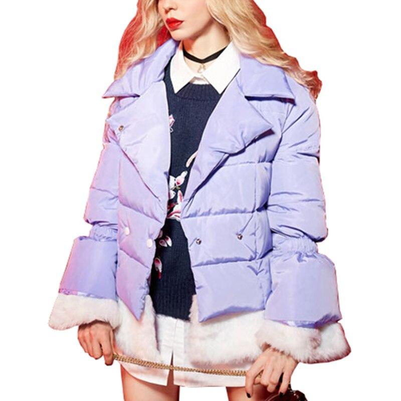 Warm Short Slim Fit Stitching Fur Hem White Duck Down Jacket Winter 2017 Women Plus Size Fashion Casual Female Down Coat WFY153