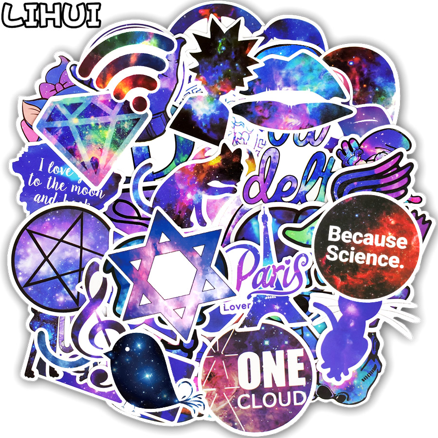 50 PCS Mixed Galaxy Sticker Stars Dream Anime Cartoon Stickers For DIY Luggage Laptop Skateboard Car Motorcycle Bicycle Stickers