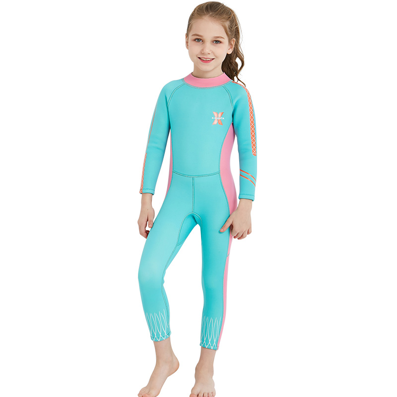 2018 DIVE&SAIL Kids Full Wetsuit Diving Surfing Watersports Wetsuits Junior Girls 2.5MM Back Zip Long Sleeve Swimsuit Wet Suit
