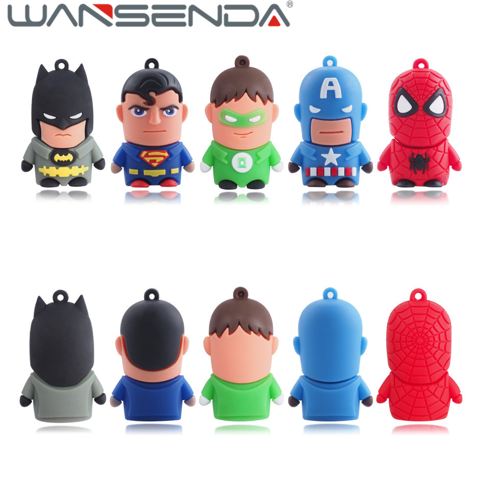 6 style cartoon Usb flash drive Pen drive super hero 128GB 64GB 32GB 16GB 8GB 4GB usb2.0 pendrive batman silicone usb stick gift bikini sarong wrap beach scarf
