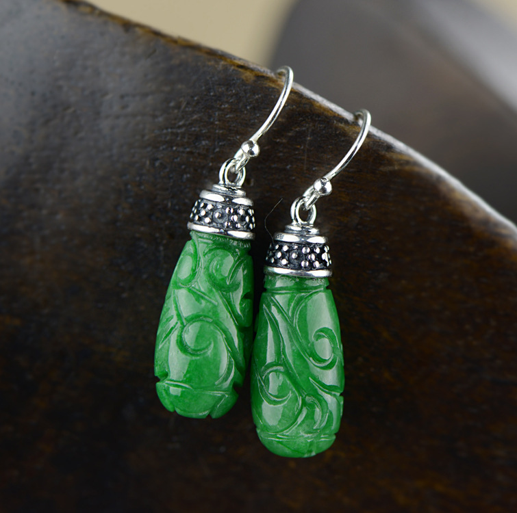 Silver Earrings antique engraving, Thai silver inlaid iron dragon born green jade earrings, female fashion earrings thai silver earrings s925 zircon silver inlaid white female antique style earrings atmospheric water