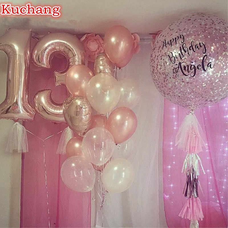 Detail Feedback Questions About 10pcs Lot 40inch Rose Gold Number 13 Latex HeartStar Foil Helium Balloons 13th Birthday Party