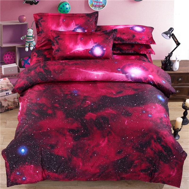 iDouillet 3D Nebala Outer Space Star Galaxy Bedding Set 2/3/4 pcs Duvet Cover Flat Sheet Pillowcase Queen Twin Size 22