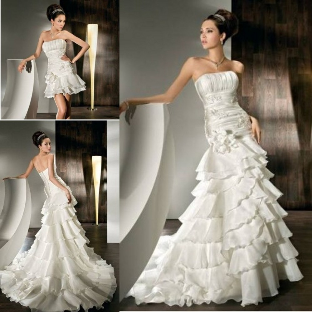 Elegant strapless neck layered skirt two piece wedding dress elegant strapless neck layered skirt two piece wedding dress mermaid wedding dress detachable skirt wedding dresses in wedding dresses from weddings ombrellifo Choice Image