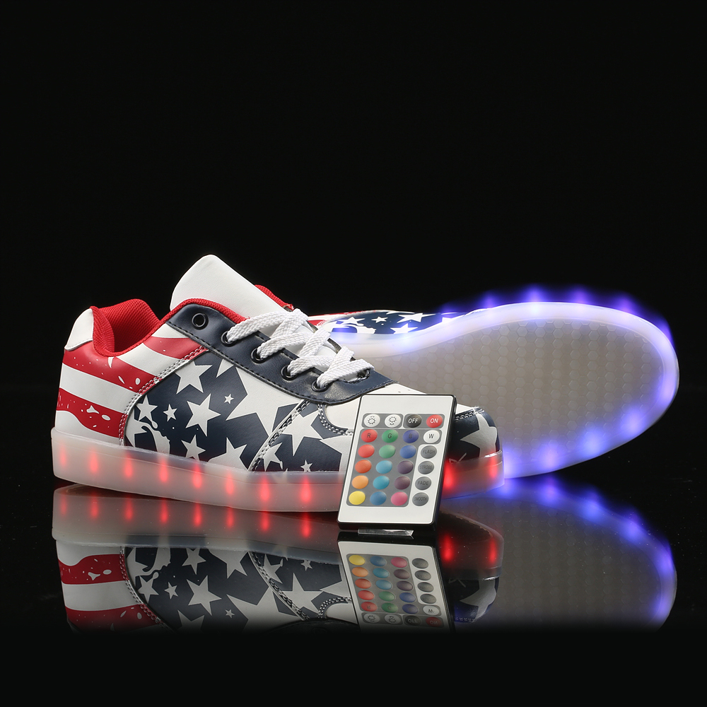 LED Shoes with remote control tenis led Luminous Light Up leisure Casual shoes men USB Charge