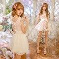 Princesa doce lolita vestido exclusivo design de chuva de Doces verão novo doce flounce C16AB6050 falsa dois vestido de arco fino feminino