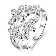 Fashion silver flower ring jewelry simple wild style beautiful birthday gift top quality cheap wholesale