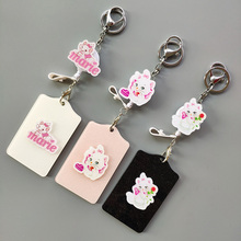Keychain New ABS Cut Cartoon Merry Cat Name Credit Card Holders Bank Card Retractable Id Card Holder Identity Badge недорого