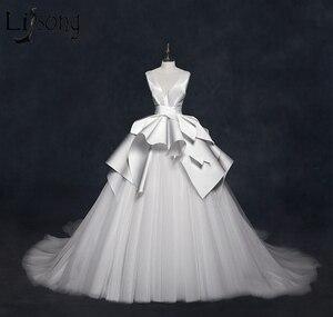 Image 5 - בציר 2018 חתונה שמלות ראפלס Ruched אלגנטי כלה שמלות צווארון V ללא משענת גבוהה סוף חתונת כותנות Vestido דה Noiva