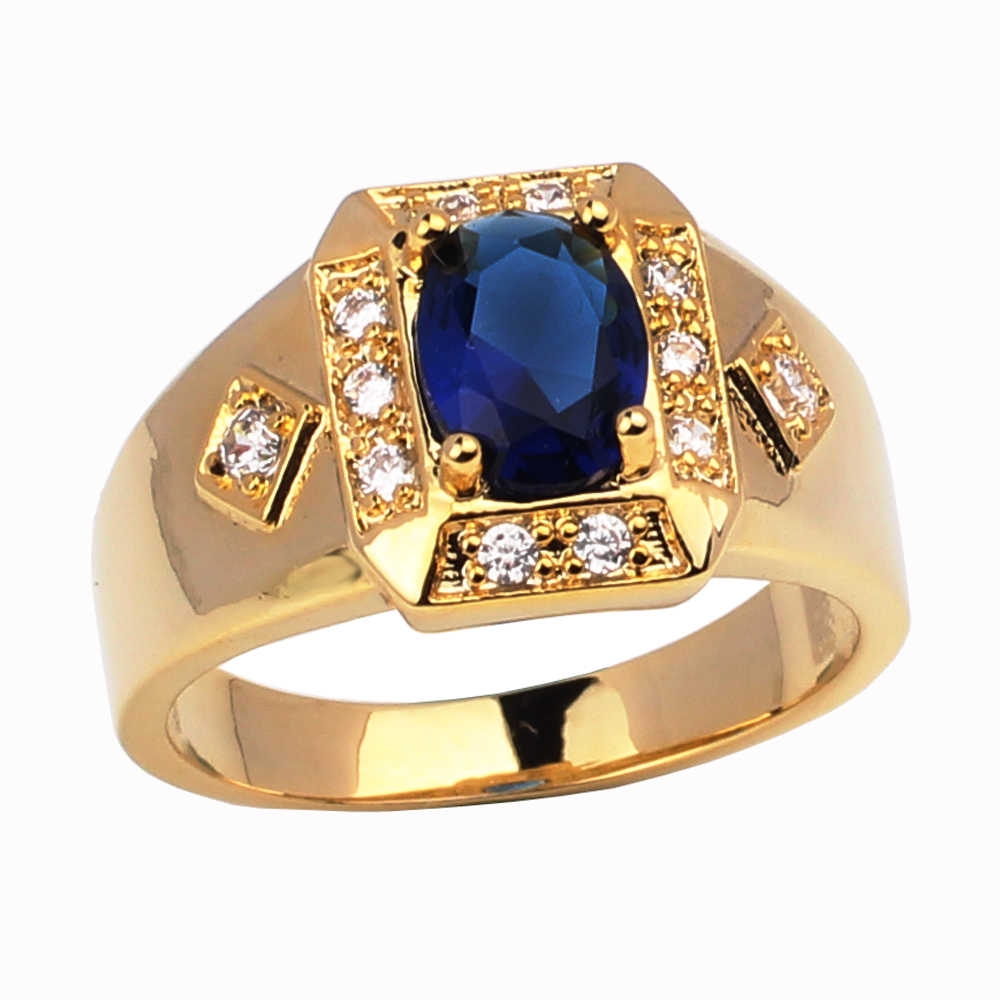 Fashion Jewelry Gold Color Ring for Men Women Unisex Bijoux Vogue Homme Wedding Jewellery Engagement Rings R117J Size 6 to 13