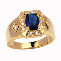 Fashion Jewelry Unisex Gold Plated Ring Men Women 6x8mm Oval Simulated Blue Sapphire Crystal Anillo Oro