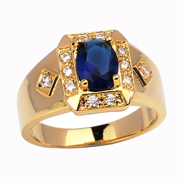 17a23f88fbc Fashion Jewelry Gold Color Ring for Men Women Unisex Bijoux Vogue Homme  Wedding Jewellery Engagement Rings R117J Size 6 to 13