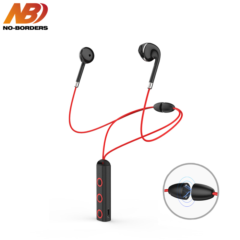 NO-BORDERS QP-313 TWS Magnetic Bluetooth Earphone Stereo Sport Music Neckband Wireless Headphones With Mic Earbuds for Xiaomi 8