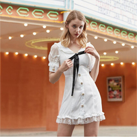 2019 summer lace splice Women Vintage Frill Trim v Neck Lace Up front bow Dress with Puff Short Sleeve hollow out