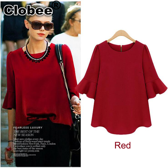 f76fdc61a63cd Clobee ropa mujer Black Red Big size chiffon blouse 2018 Summer flare sleeve  loose shirt XXXL 4XL 5XL plus size women clothing