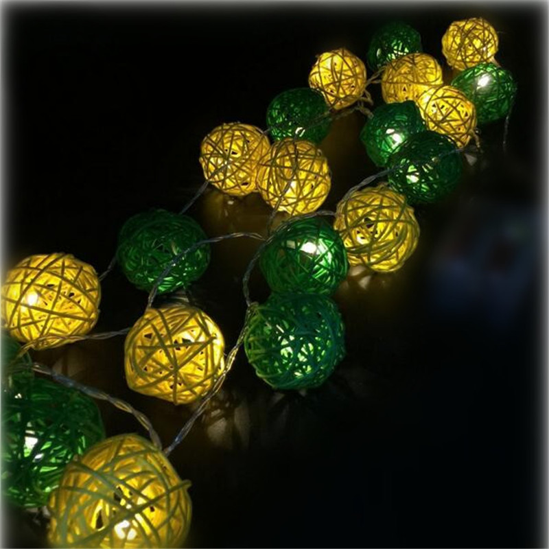 3M Length, 20pcs Ivory White Green Handmade Rattan Balls String Lights  Fairy Party Patio Decor Battery Powered