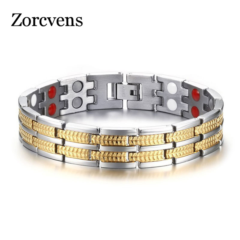 ZORCVENS Healing Magnetic Bracelet Men/Woman Titanium Material 3 Health Care Elements Gold Bracelet Hand Chain