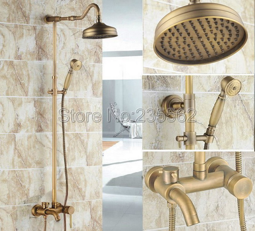 Antique Brass Single Handle Rain Shower Faucet Set Wall Mounted Bathtub Mixer Tap + Rainfall Shower Heads + Hand Spray lrs223