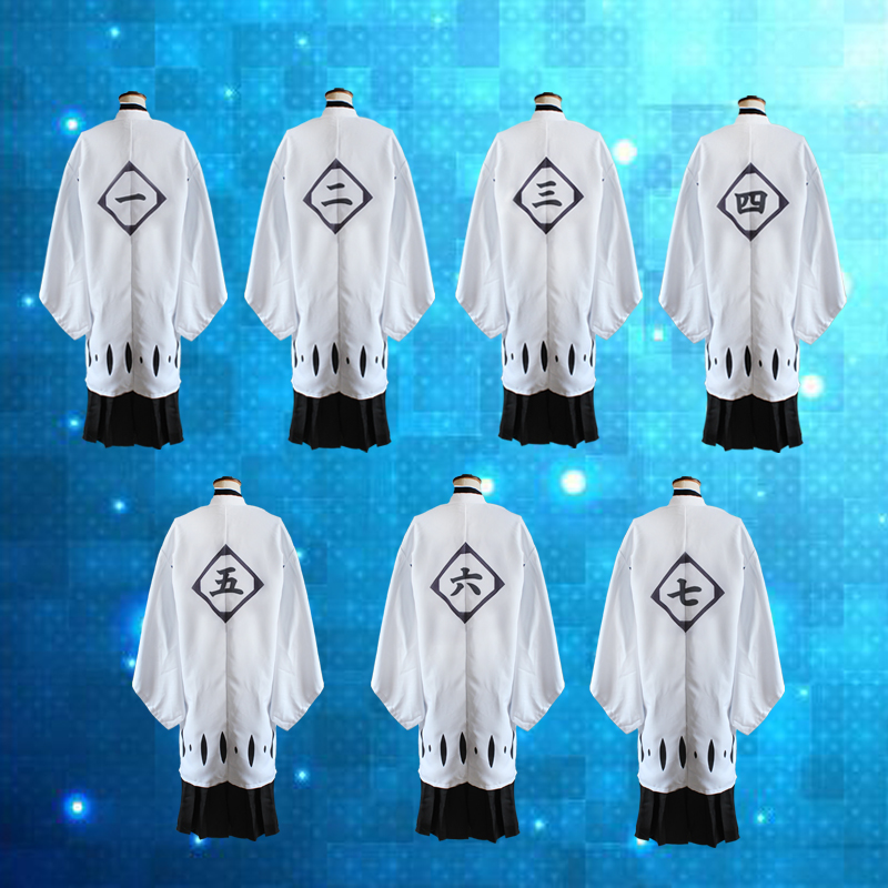 13 Numbers BLEACH White Haori Cosplay Costume From 1st To 13th Division Captain Long Cape Robe Short / Long Sleeve Cloak