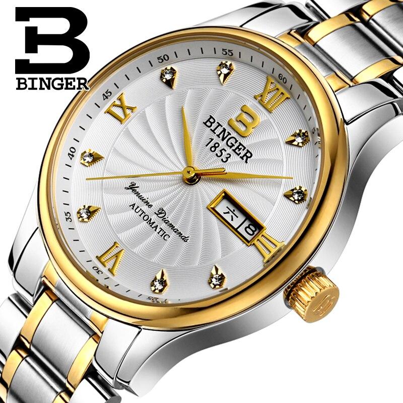 Véritable De Luxe Suisse BINGER Marque Hommes montre bracelet en cuir étanche en acier plein moulin à vent quartz mâle calendrier mode
