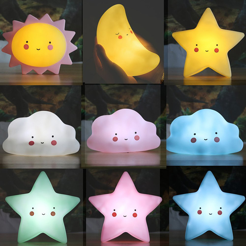 Cartoon INS Nordic Style Unicorn Cloud Star Sun Moon Children Room Sleeping Nightlight Tabatha School Opening Gift Party Supply