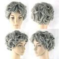 High Quality Grey Ombre Wig Short Gray Curly Wigs Synthetic Wig Heat Resistant Cheap Wigs Cosplay Women Hair Style