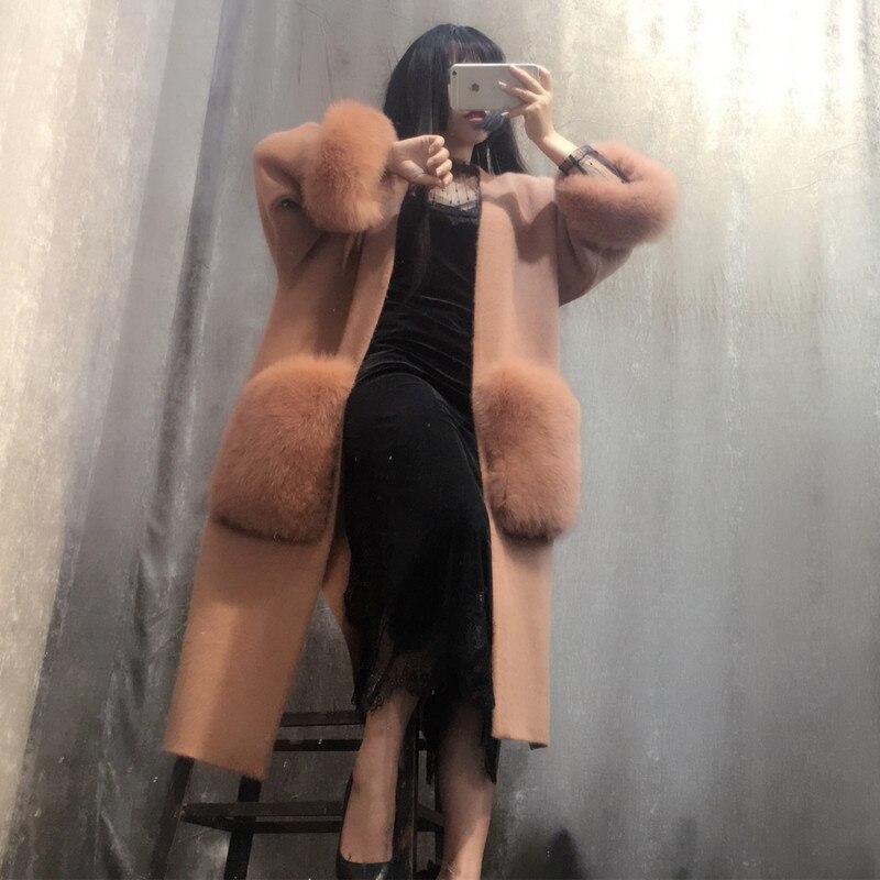 NOUVEAU femmes tricoté vison pull en cachemire avec big fox fourrure poche dames cardigans livraison gratuite 020