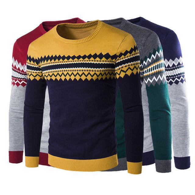 Outono Inverno Natal dos homens da Tripulação Pescoço Camisola de Manga Comprida Roupa Do Natal dos homens Slim Fit Pulôver Malhas Tops 4 cores 21