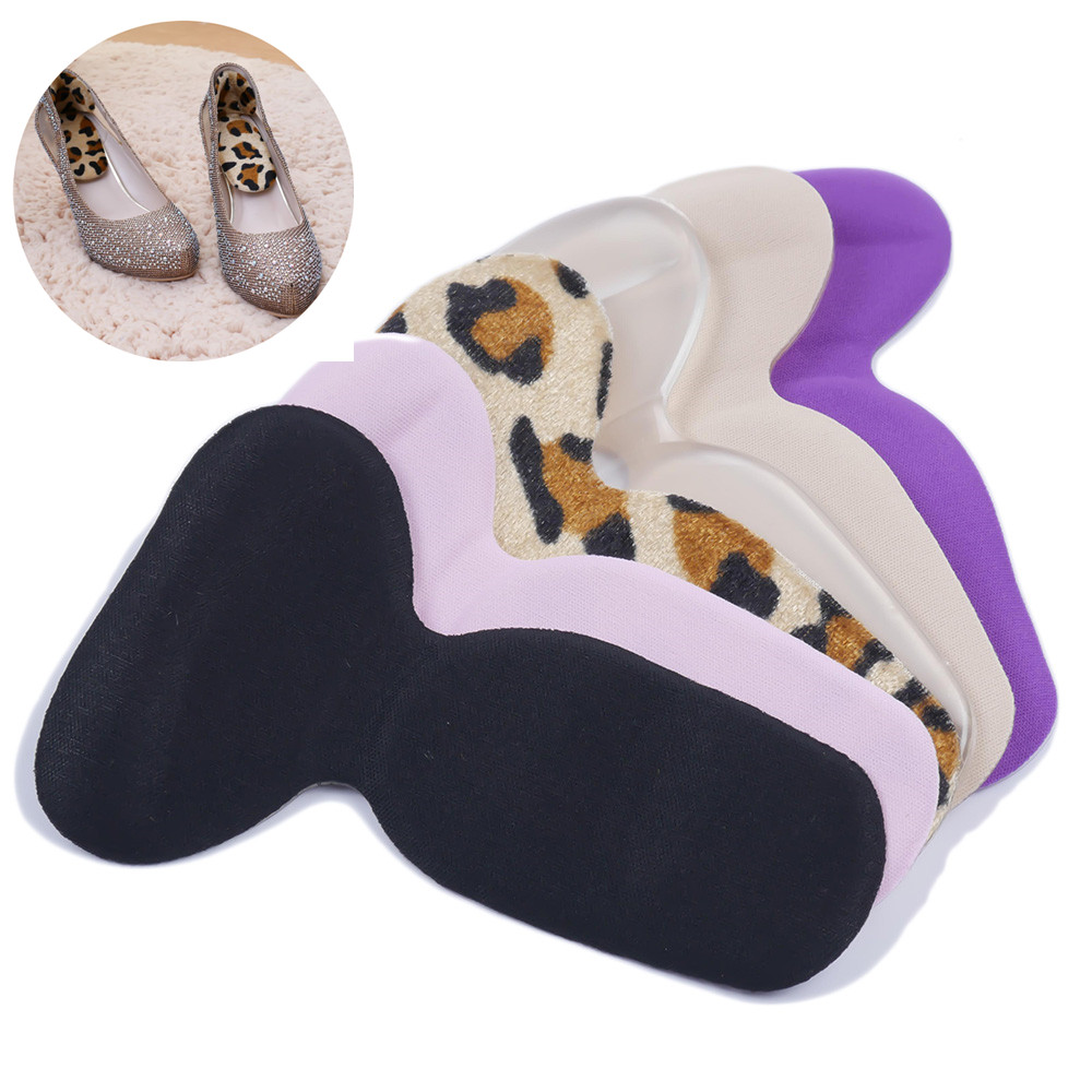1Pair 2 In 1 Women Silicone Useful T-Shape Thread Thicker Rear Foot Wear Stickers High Heels Soft Mat
