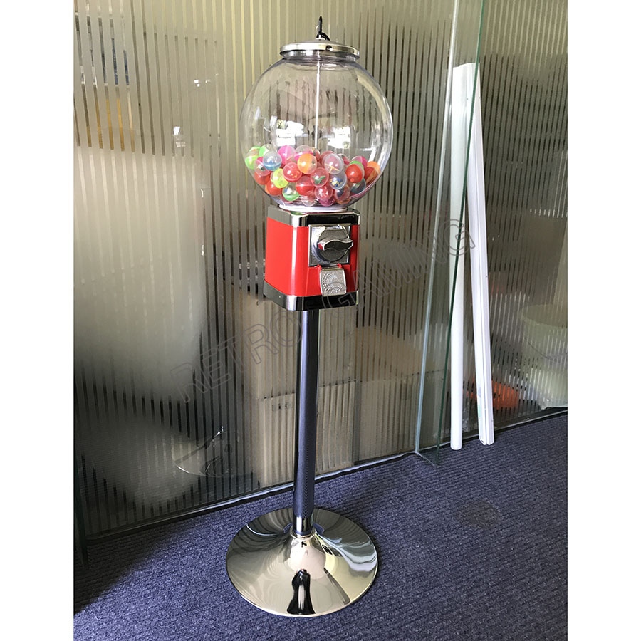 Coin Operated Floor-standing/Desktop Tabletop Candy Vendor Big Capsule Upright Chewing Gum Vending Machine Penny-in-the-slot