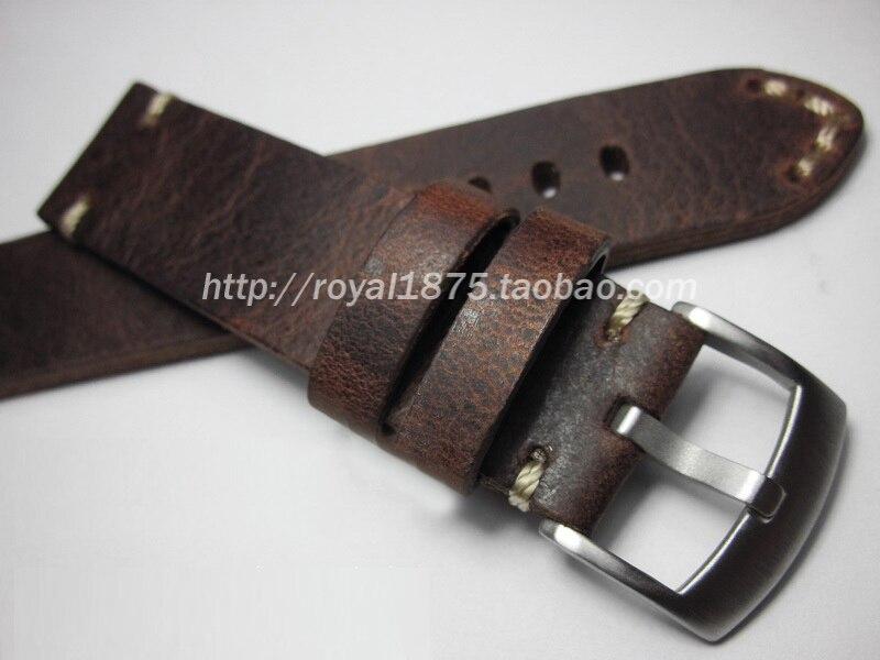 Retro Handmade 18 19 20 21 22 mm Men Genuine Leather Watch Band Strap High Quality Wristband Belt Bracelet For Omega/Zenith/IWC