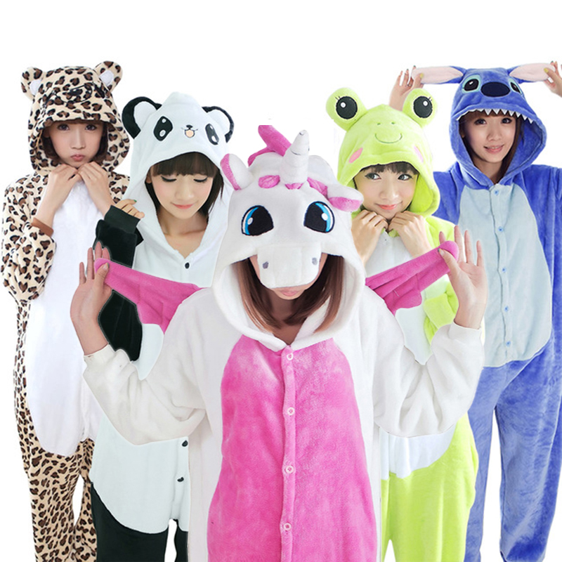 Women Kigurumi Unicorn Pajamas Sets Flannel Cute Animal Pajamas kits Women Winter unicornio Nightie Pyjamas Sleepwear Homewear(China)