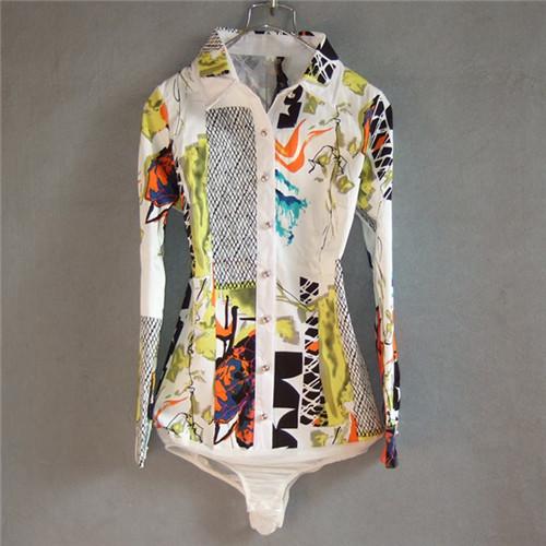 Mulheres marca Camisa Blusa Impressão Bodysuit de Algodão de Manga Longa Camisas Formais Corpo Túnica Das Mulheres do Sexo Feminino Casual Blusas Tops Plus Size
