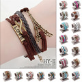 Hot Sellings Vintage Anchor Faith Love Charms Leather Bracelet My Best Friends Charm Wrap Bracelet Wholesale Multilayer Bracelet
